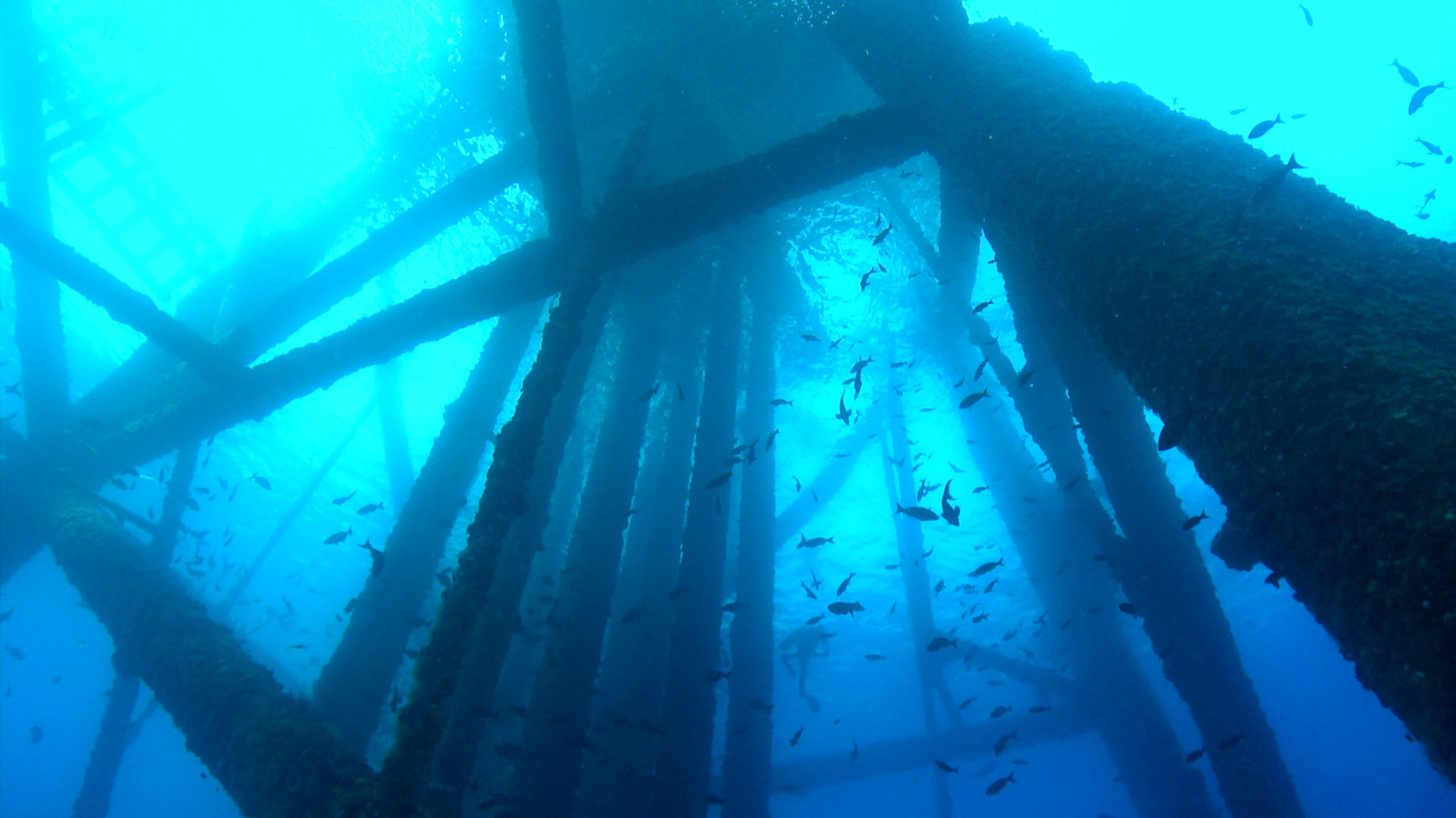 Underwater oil rig gas platforms