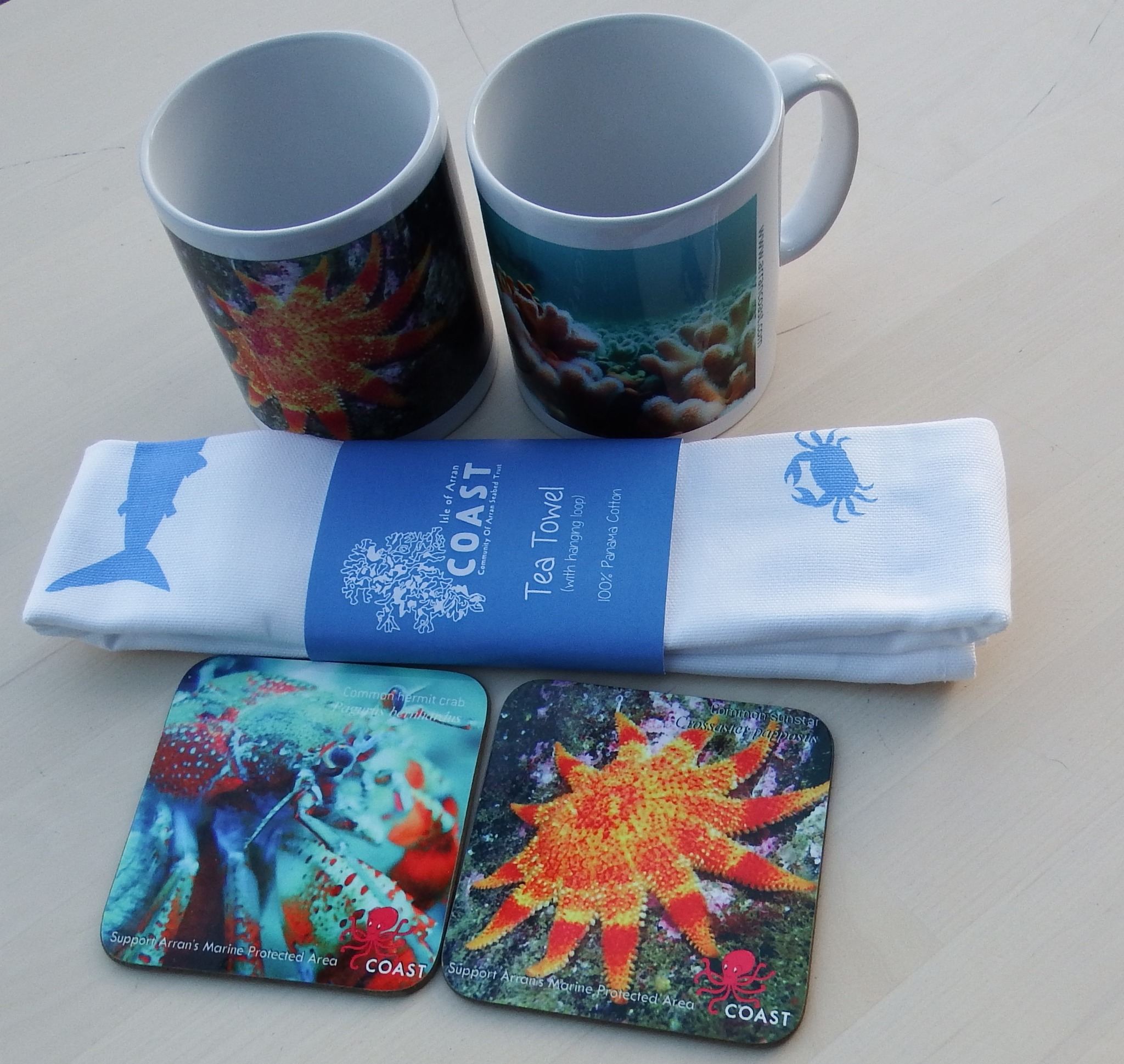 Mugs, coaster and Tea Towel bundle