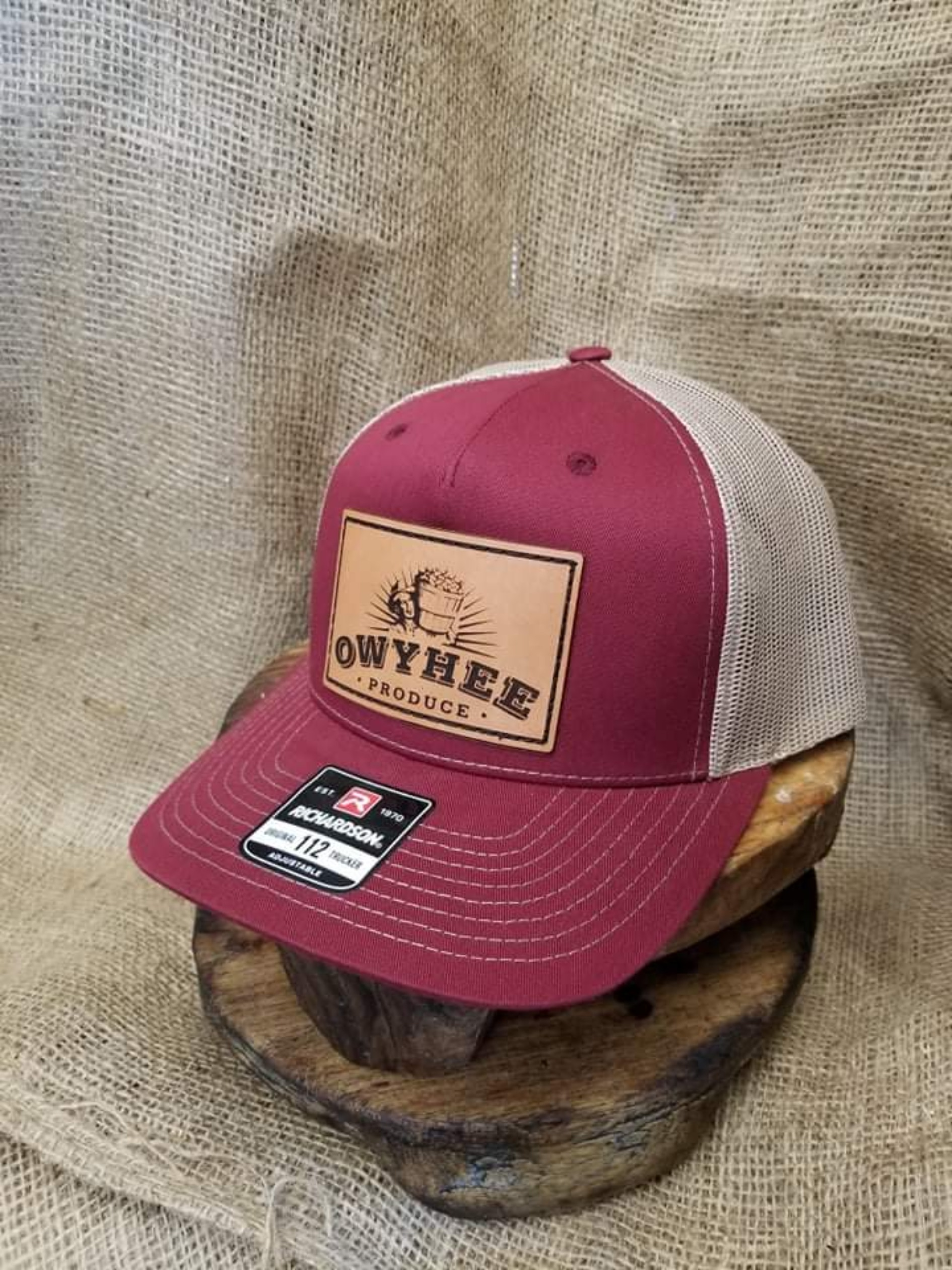 Maroon and tan back large patch Owyhee Produce hat