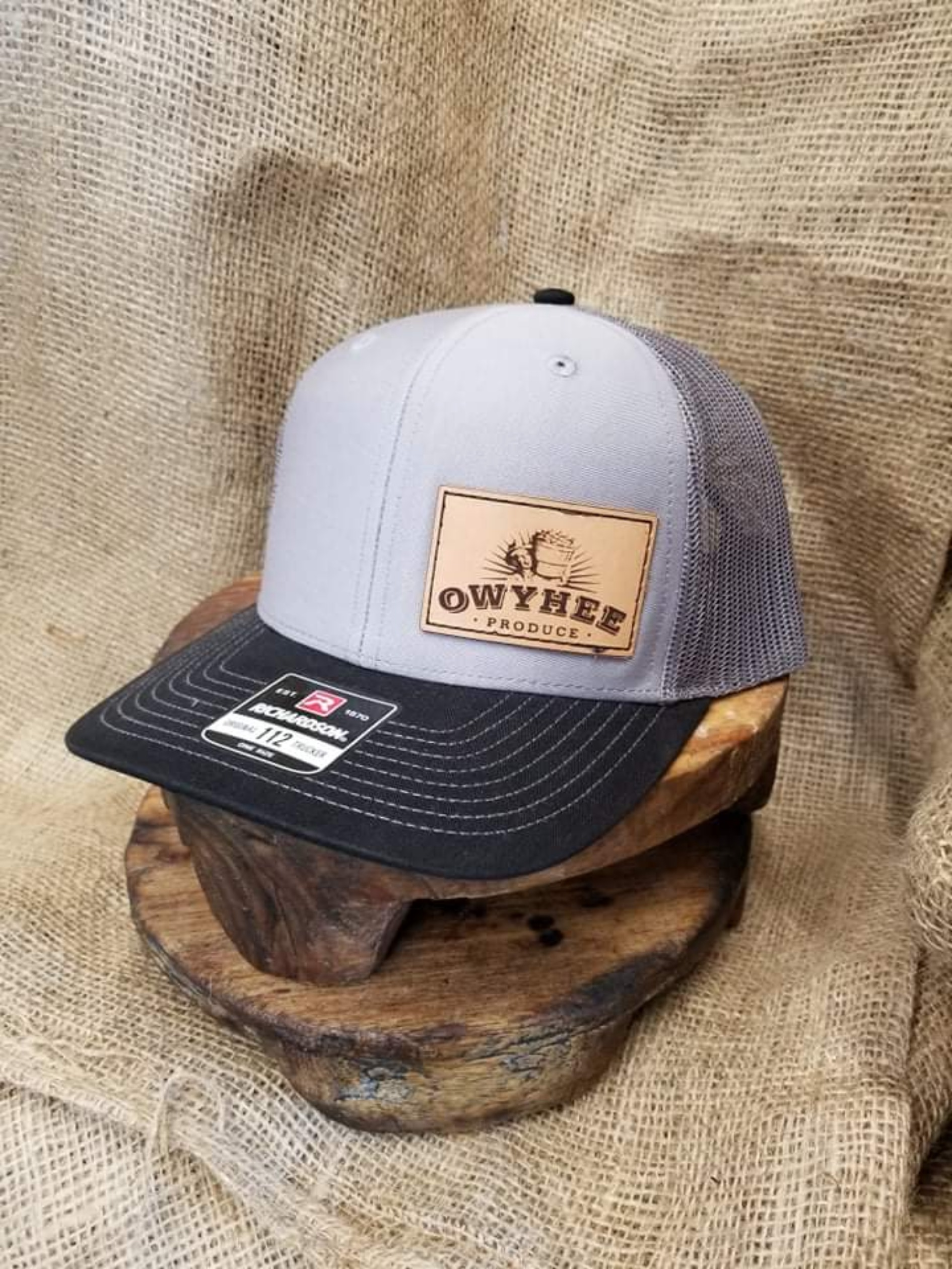Black and grey front small Owyhee patch Richardson 112 hat