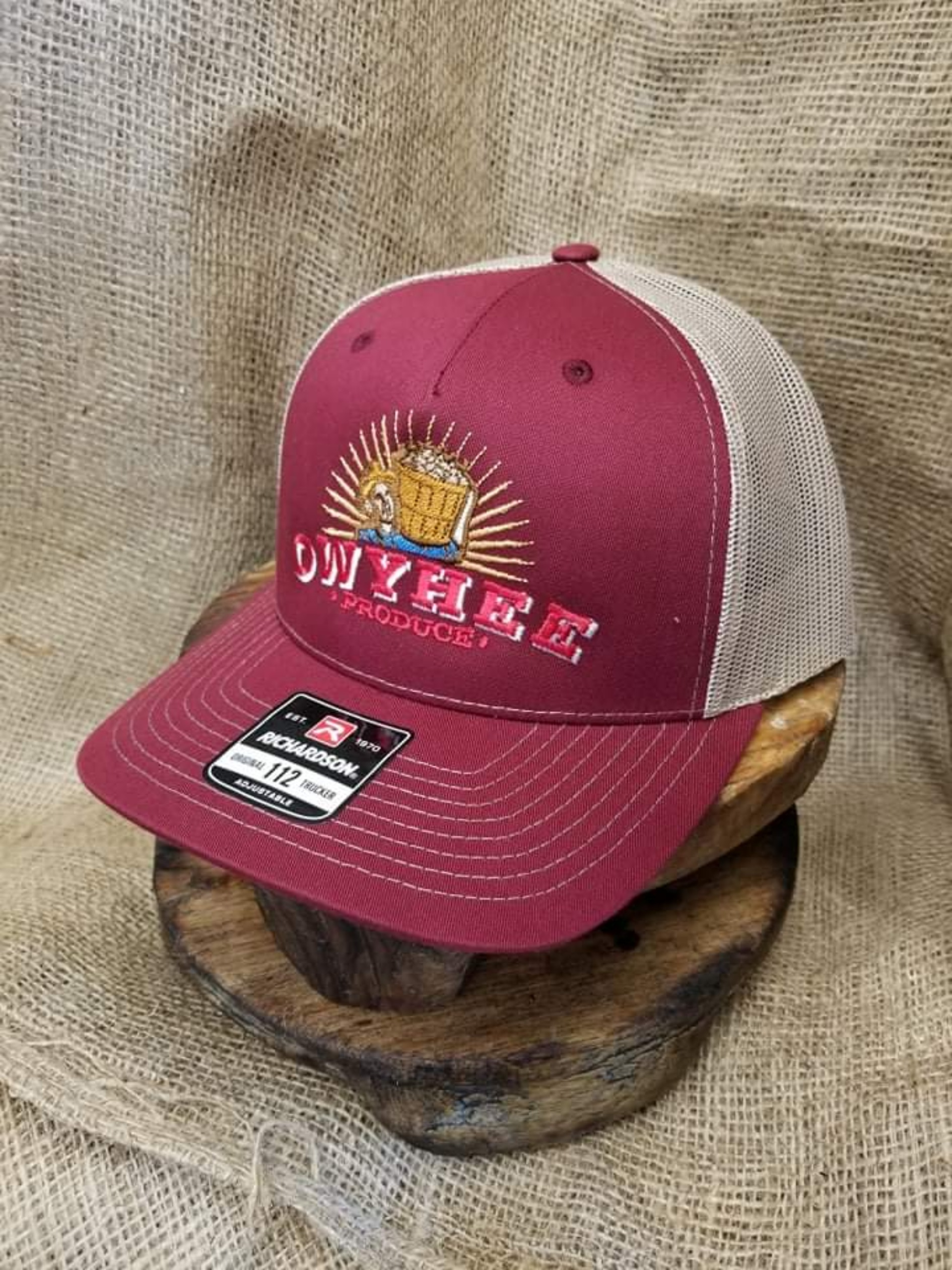 Maroon and tan back embroidered Owyhee produce hat