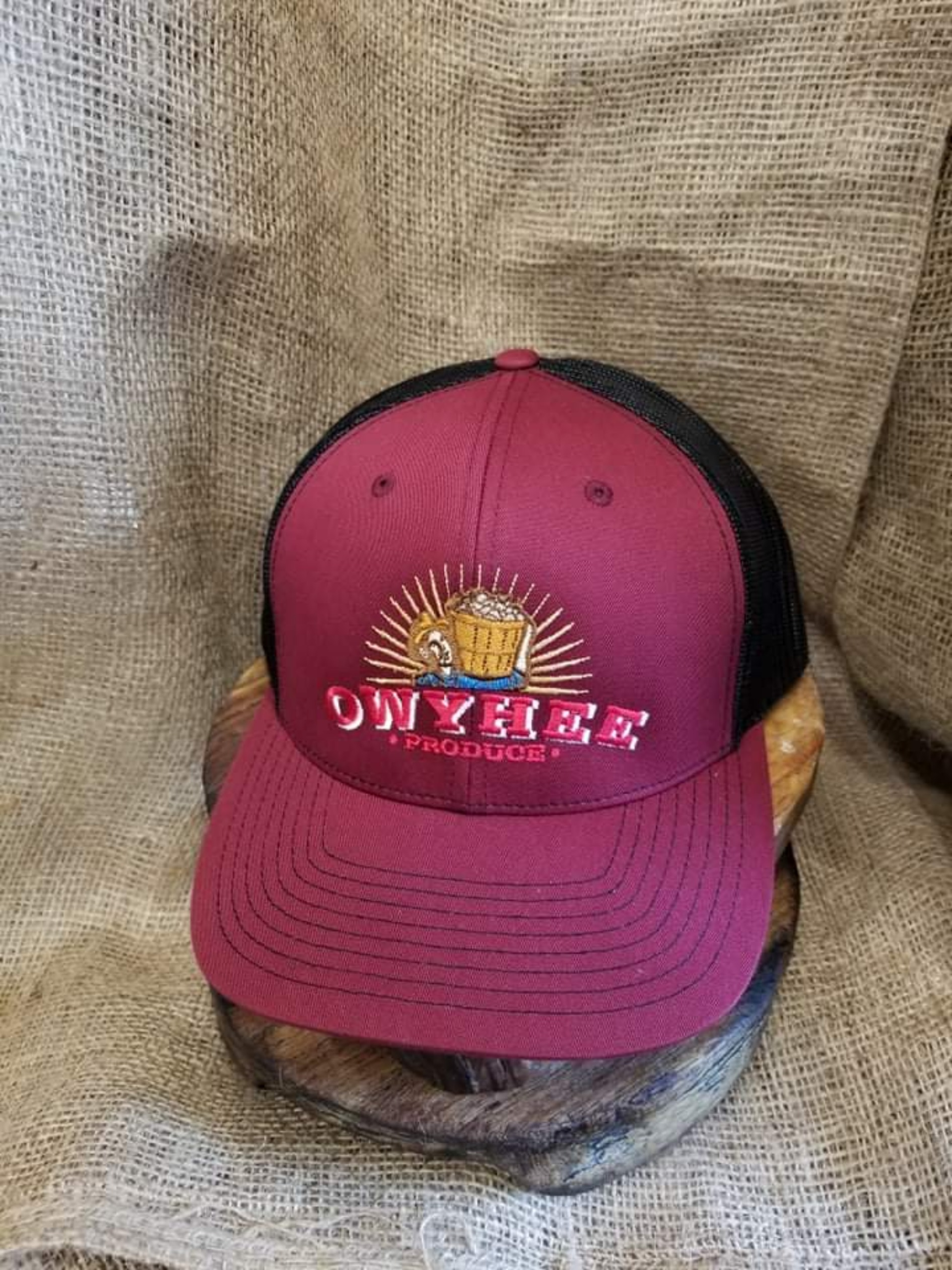Maroon and back  Owyhee Produce embroidered hat