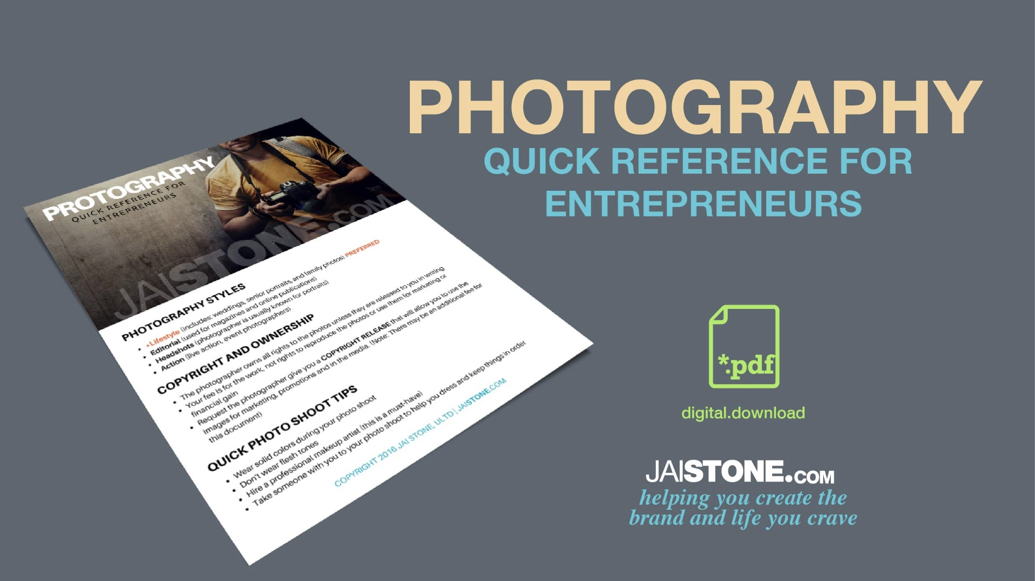 Photography Quick Reference Guide For Entrepreneurs
