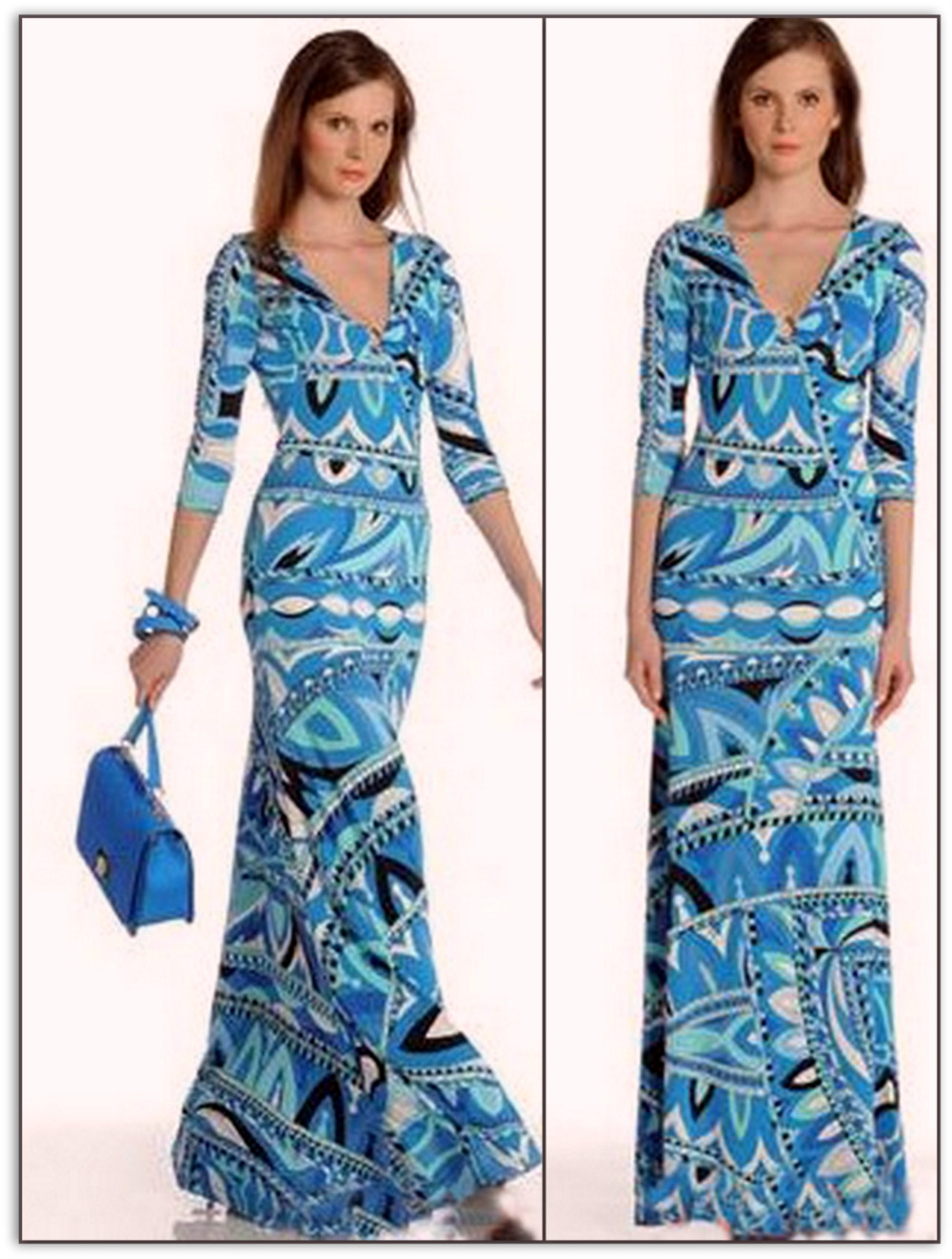Emilio Pucci Vogue Azure Long Silk Maxi Dress