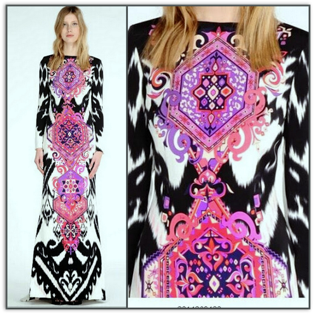 Emilio Pucci Geometric Rose Long Silk Maxi Dess
