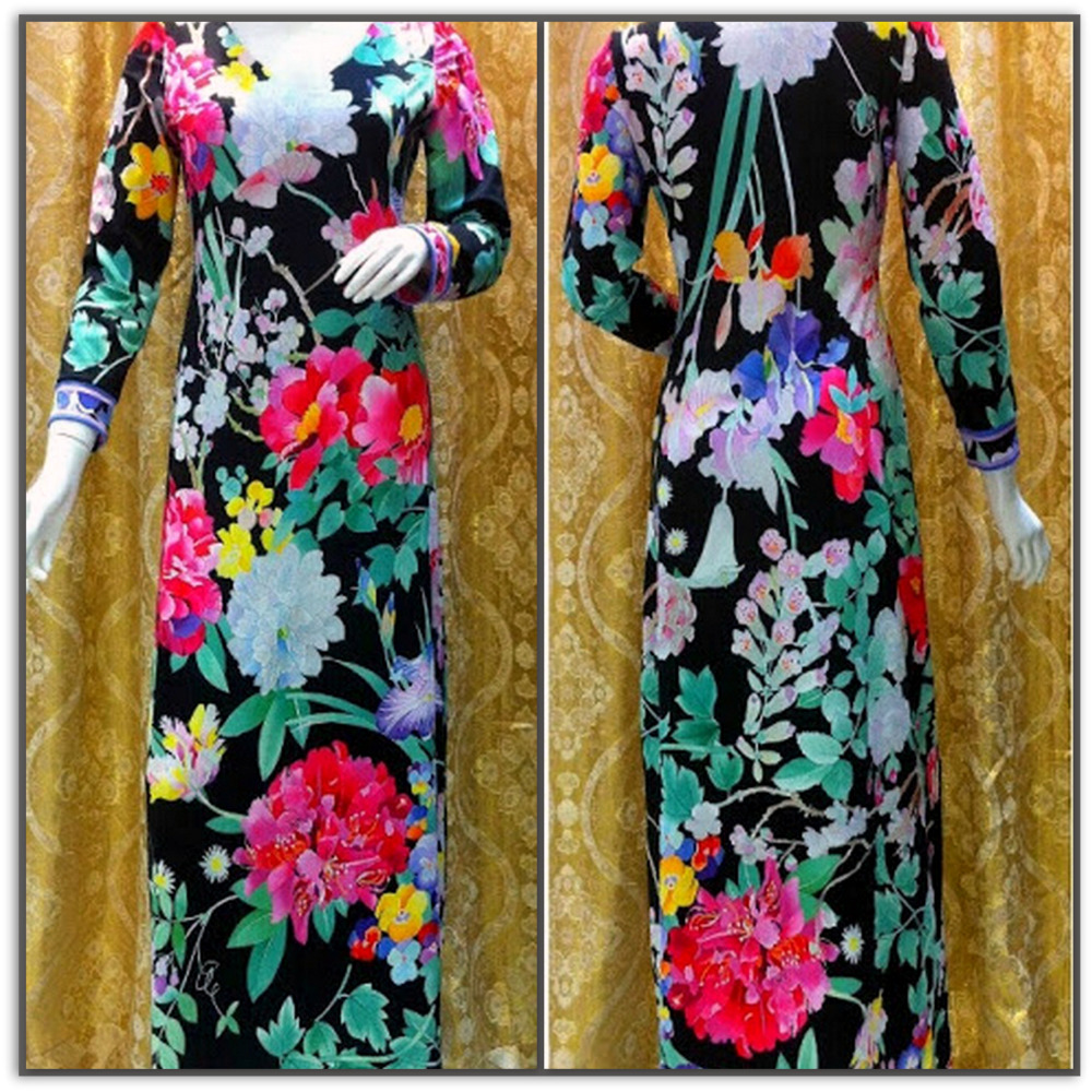 Emilio Pucci Flowery Long Silk Maxi Dress