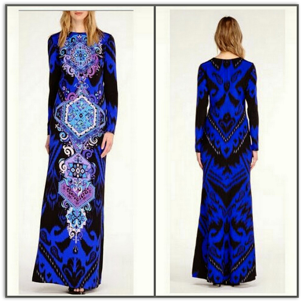 Emilio Pucci Geometric Blue Long Silk Maxi Dress