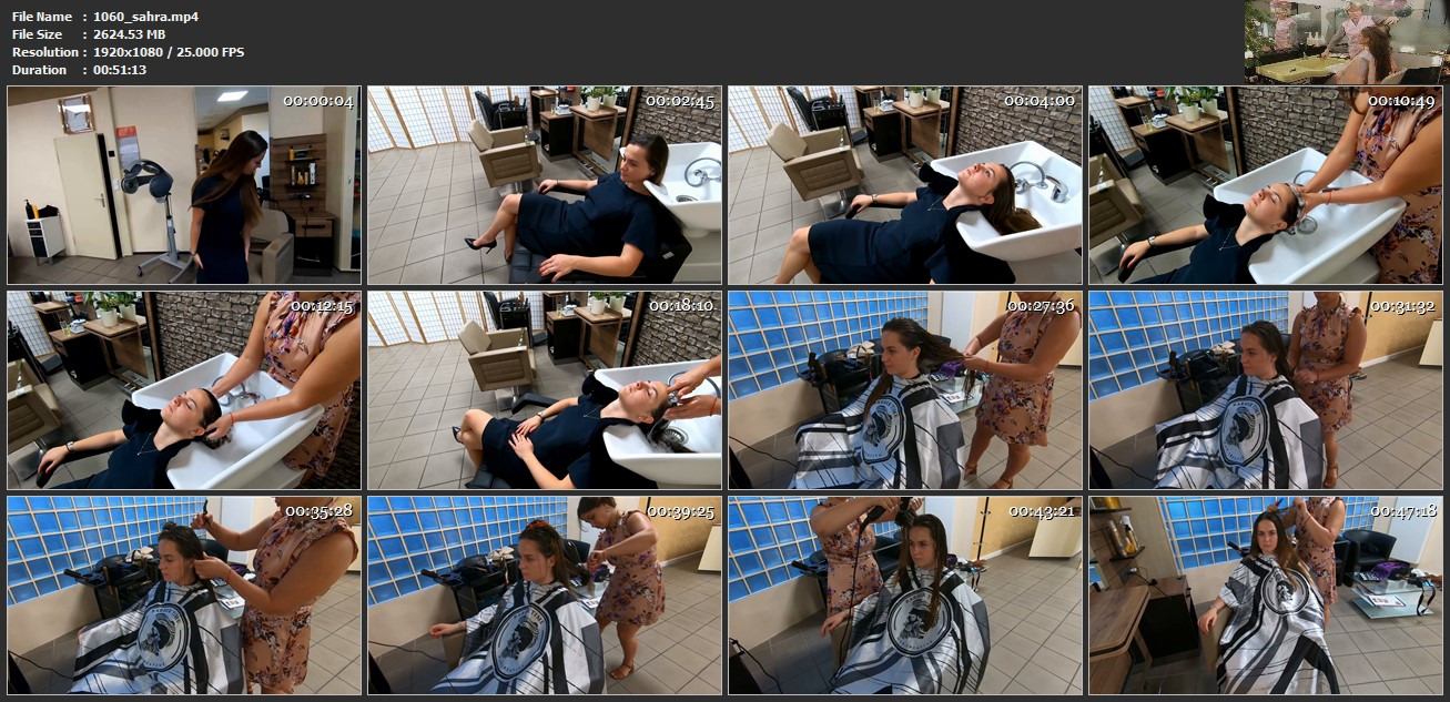 1060 Sahra by hobbybarberette pampering shampooing and blow 51 min HD video for download