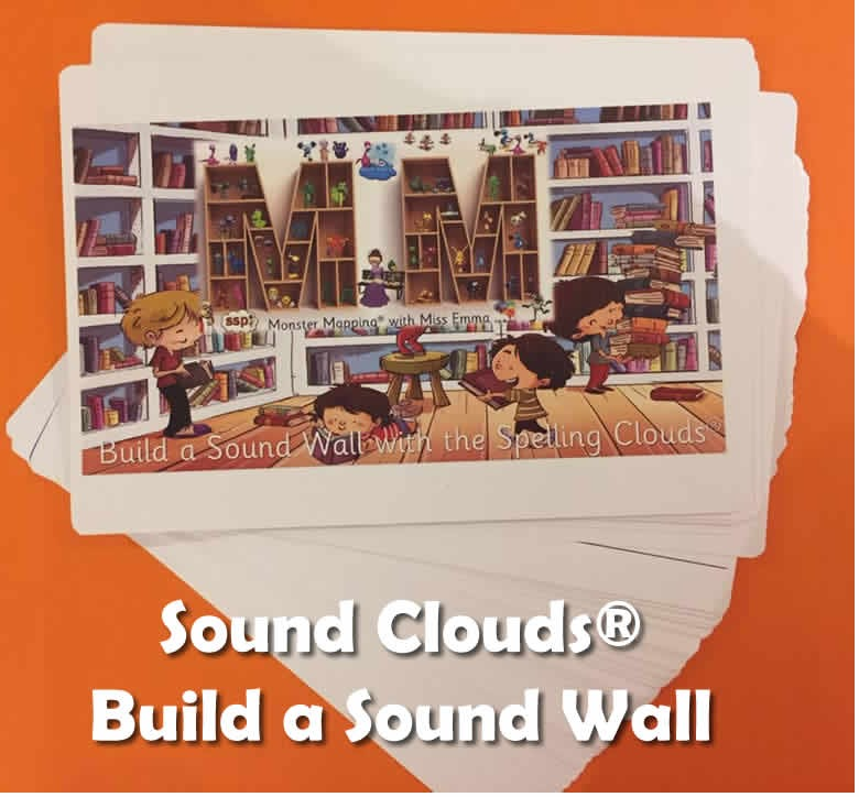 All Clouds with SSP Colours- Pack of  10 x A5 Spelling Clouds (SOUND WALL)  Grapheme Choices