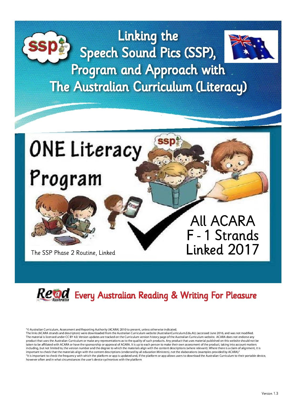 ACARA links with SSP - 2017 doc - useful as a reference for SSP teachers in Australia