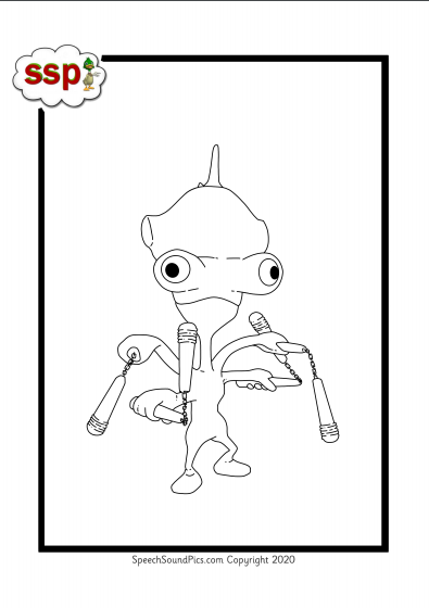 Digital Download - Colouring Book ! Yellow Level (phoneme) Monsters