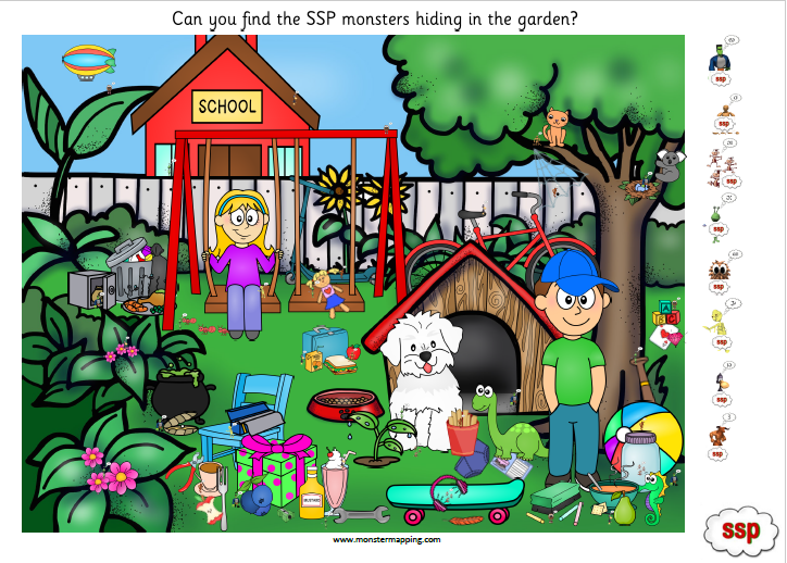 SSP Digital - Monster Search  - BLUE Level - Set 3 (4 activity sheets)