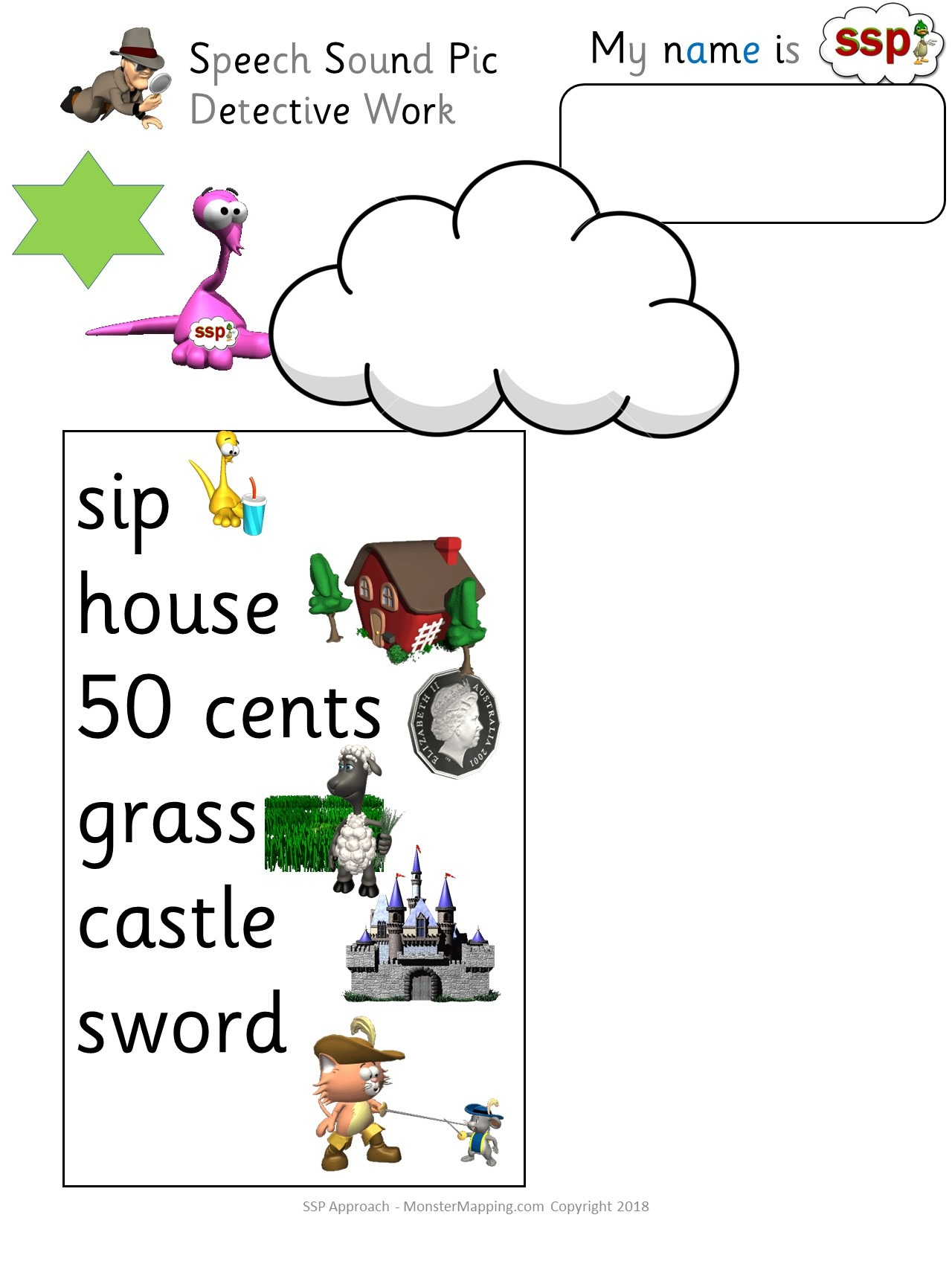 SSP Digital - Spelling Cloud Worksheets - extending high frequency grapheme knowledge.