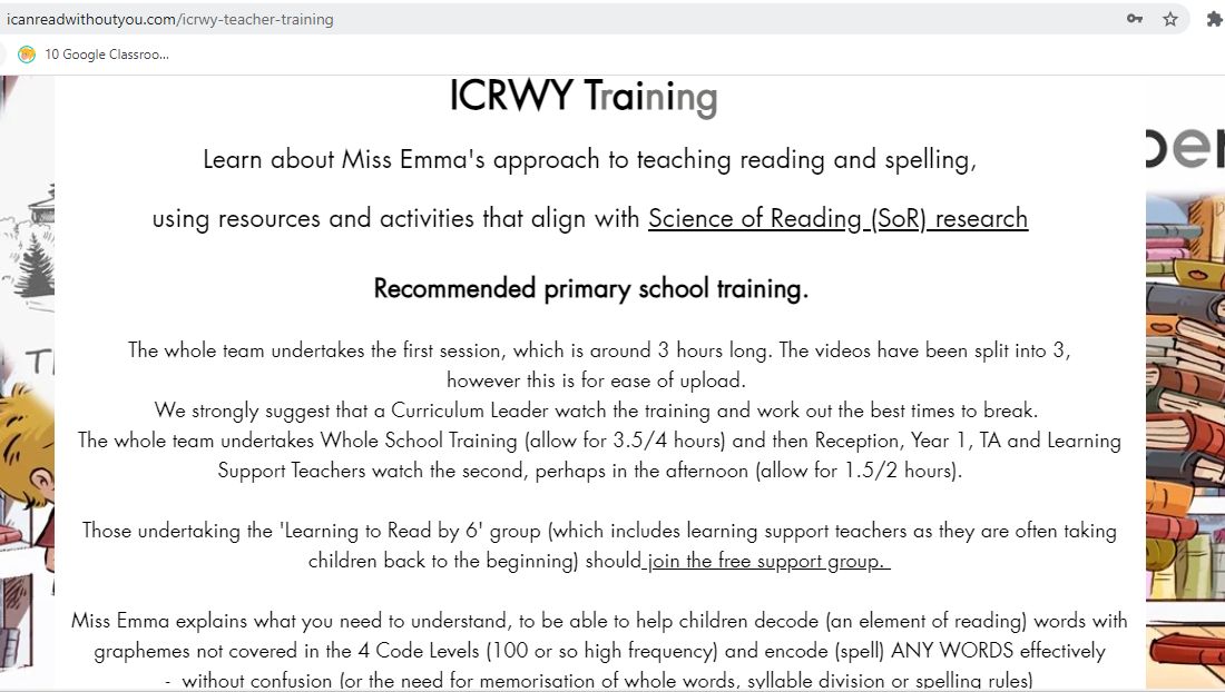 ONLINE Training INFO 12 Months Access (£120) to WHOLE SCHOOL, and K-2 Training (and more!)