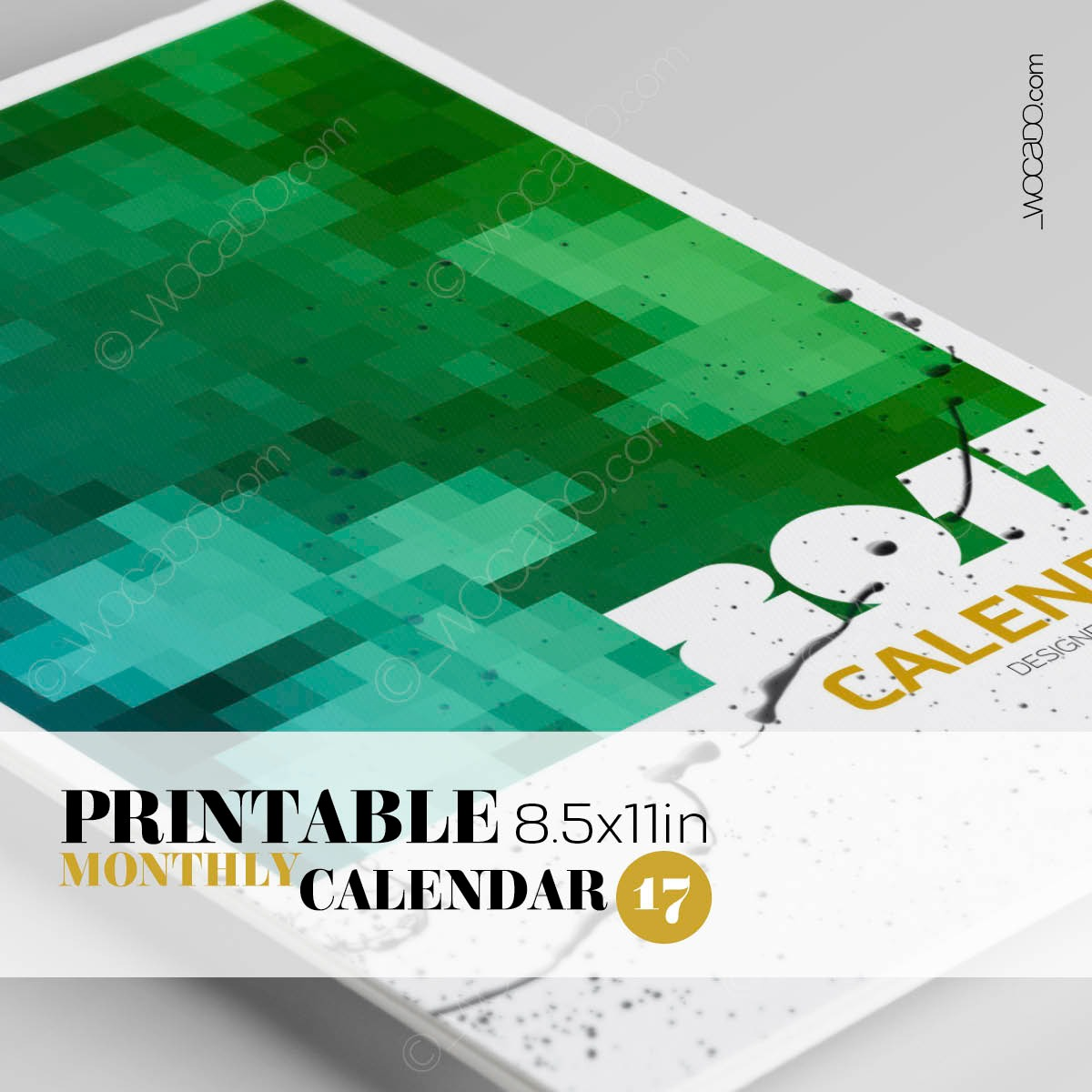 On The Square – Monthly Printable Calendar 2017 - 8,5x11, Multicolor Mosaic, Designer Style