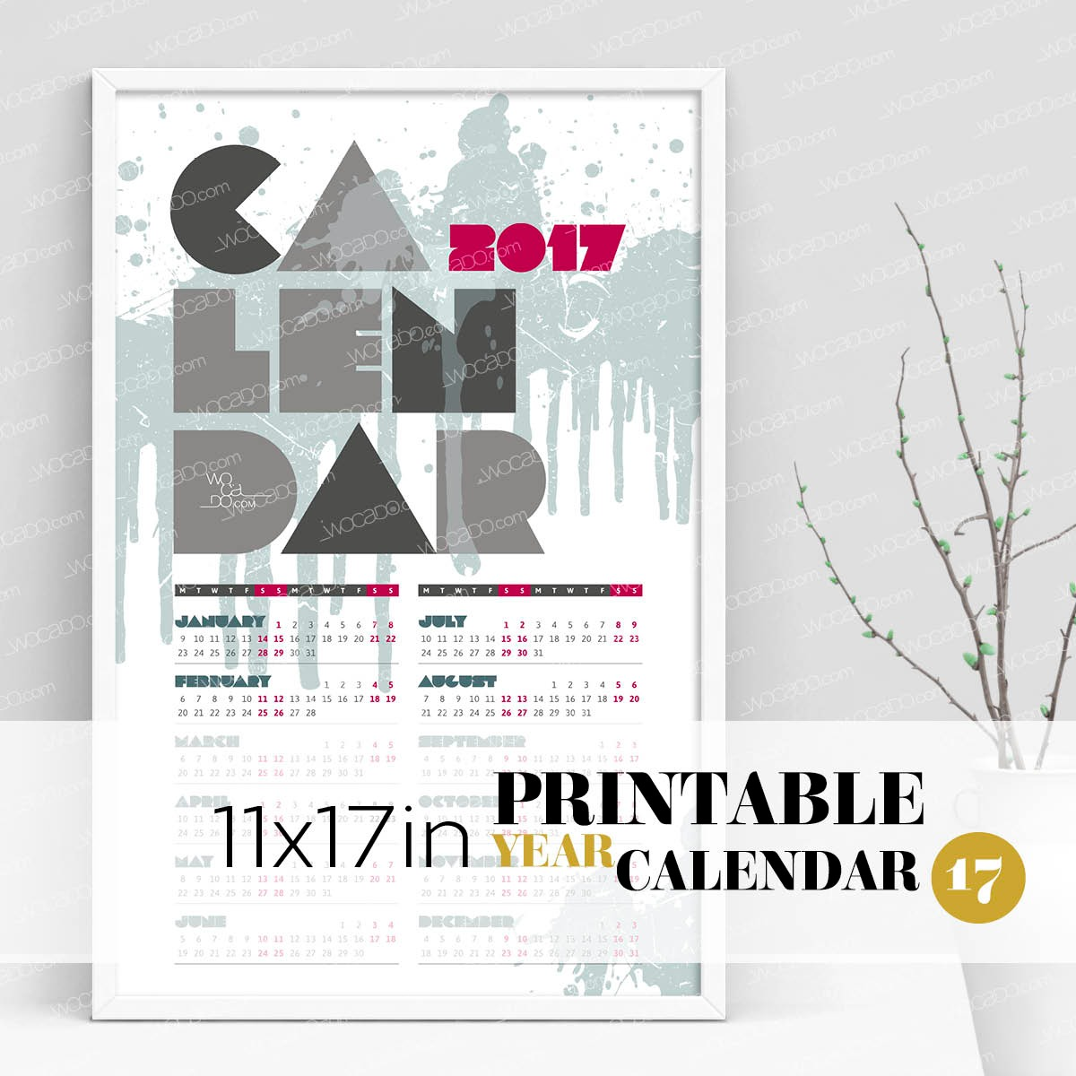 Color Splash – Full Year Printable Calendar 2017 - 11x17 Poster, Cambridge Blue, Designer Style