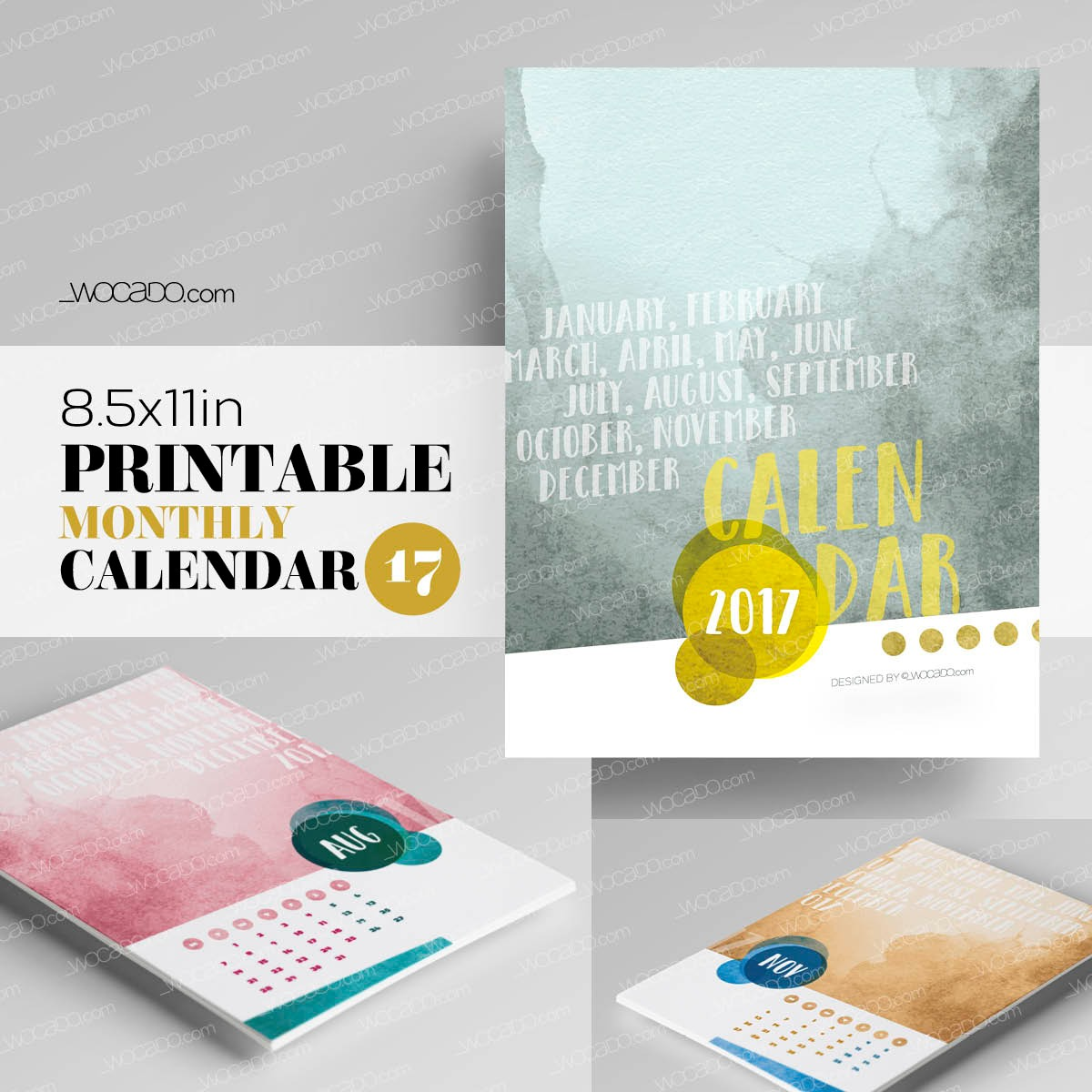 Watercolor Year – Monthly Printable Calendar 2017 - 8,5x11, Multicolor, Painted