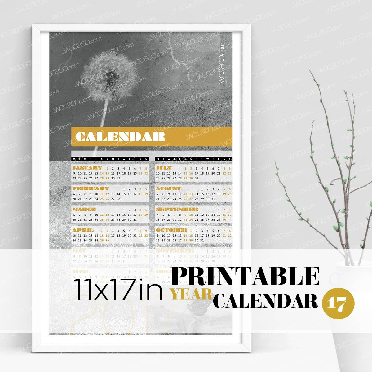 Spot Οn Nature – Full Year Printable Calendar 2017 - 11x17 Poster, Greyscale, Photos, Gold