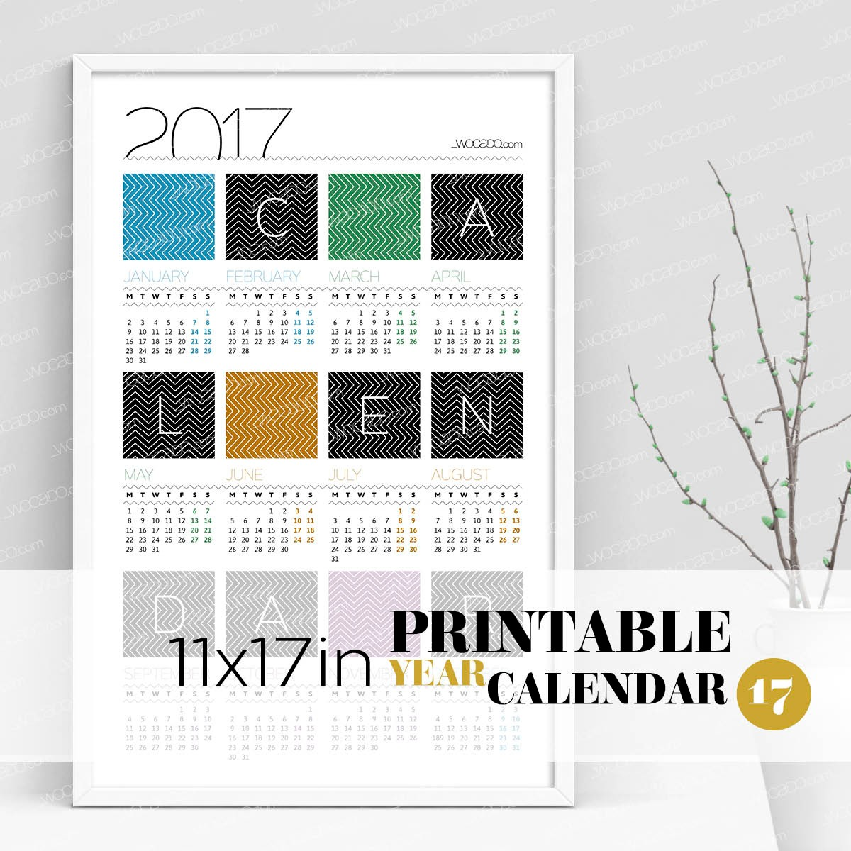 Time Zigzag – Full Year Printable Calendar 2017 - 11x17 Poster, Multicolor, Designer Style