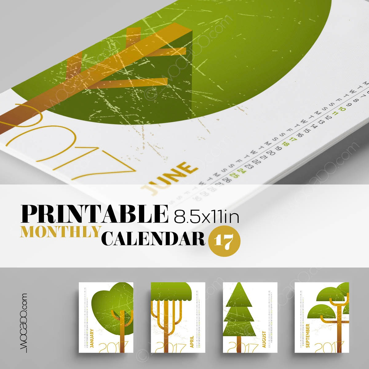 Top Of The Tree – Monthly Printable Calendar 2017 - 8,5x11, Tree Sketches, Designer Style
