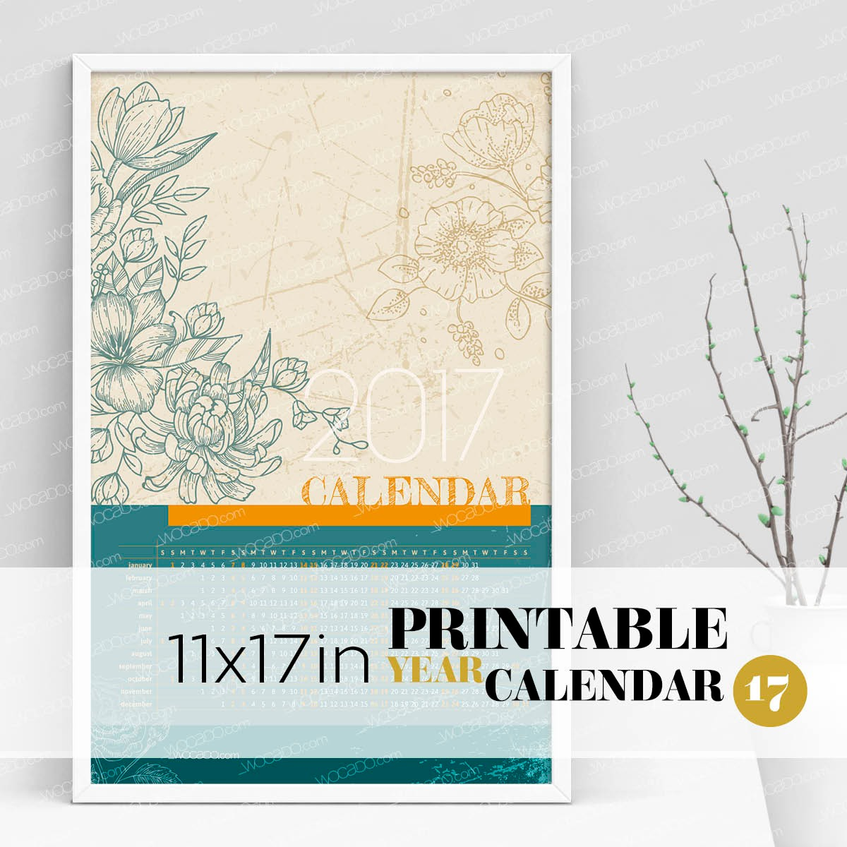 Secret Garden – Full Year Printable Calendar 2017 - 11x17 Poster, Green Burlywood Decorative Flowers