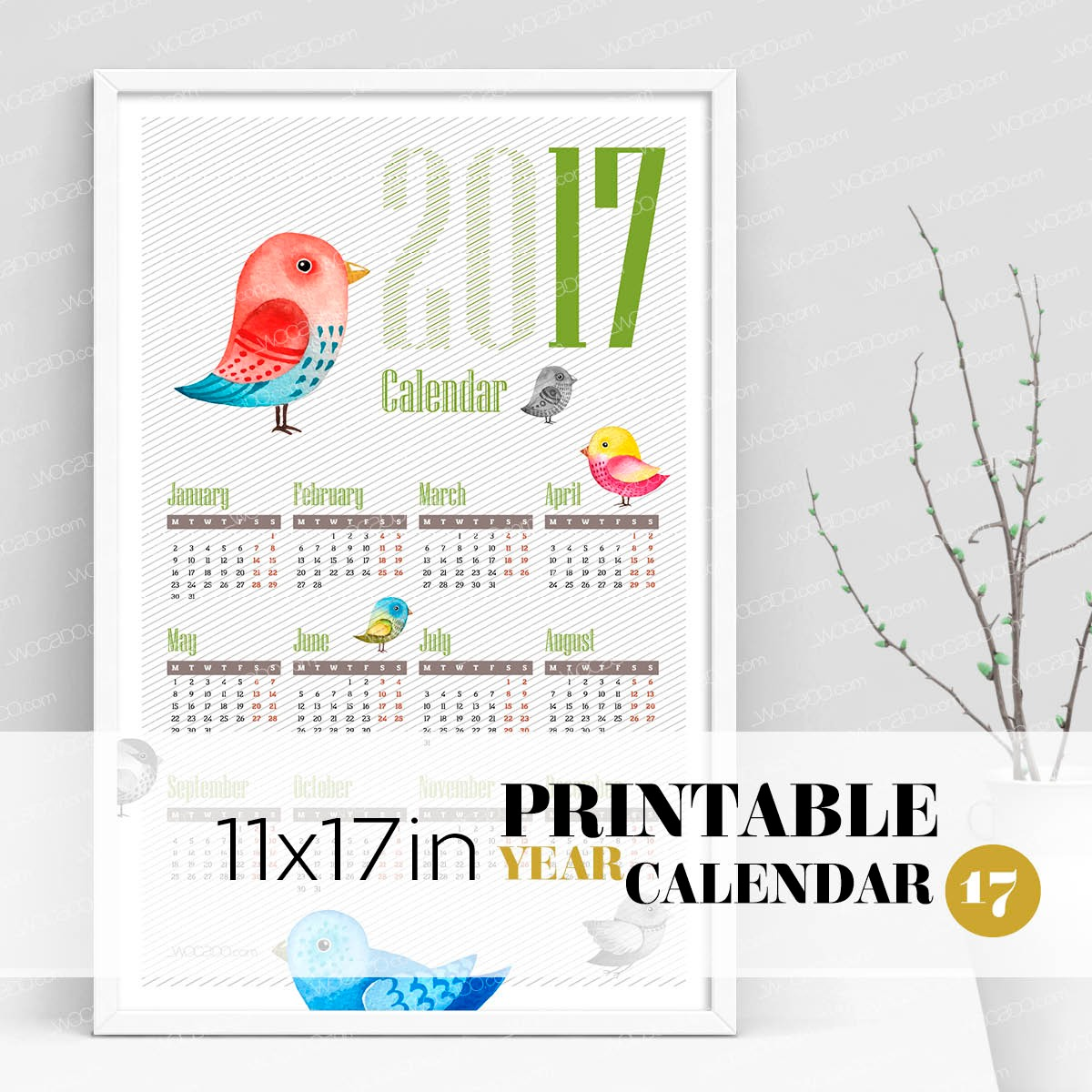 Birds & Birdies – Full Year Printable Calendar 2017 - 11x17 Poster, Colorful Painted Birds