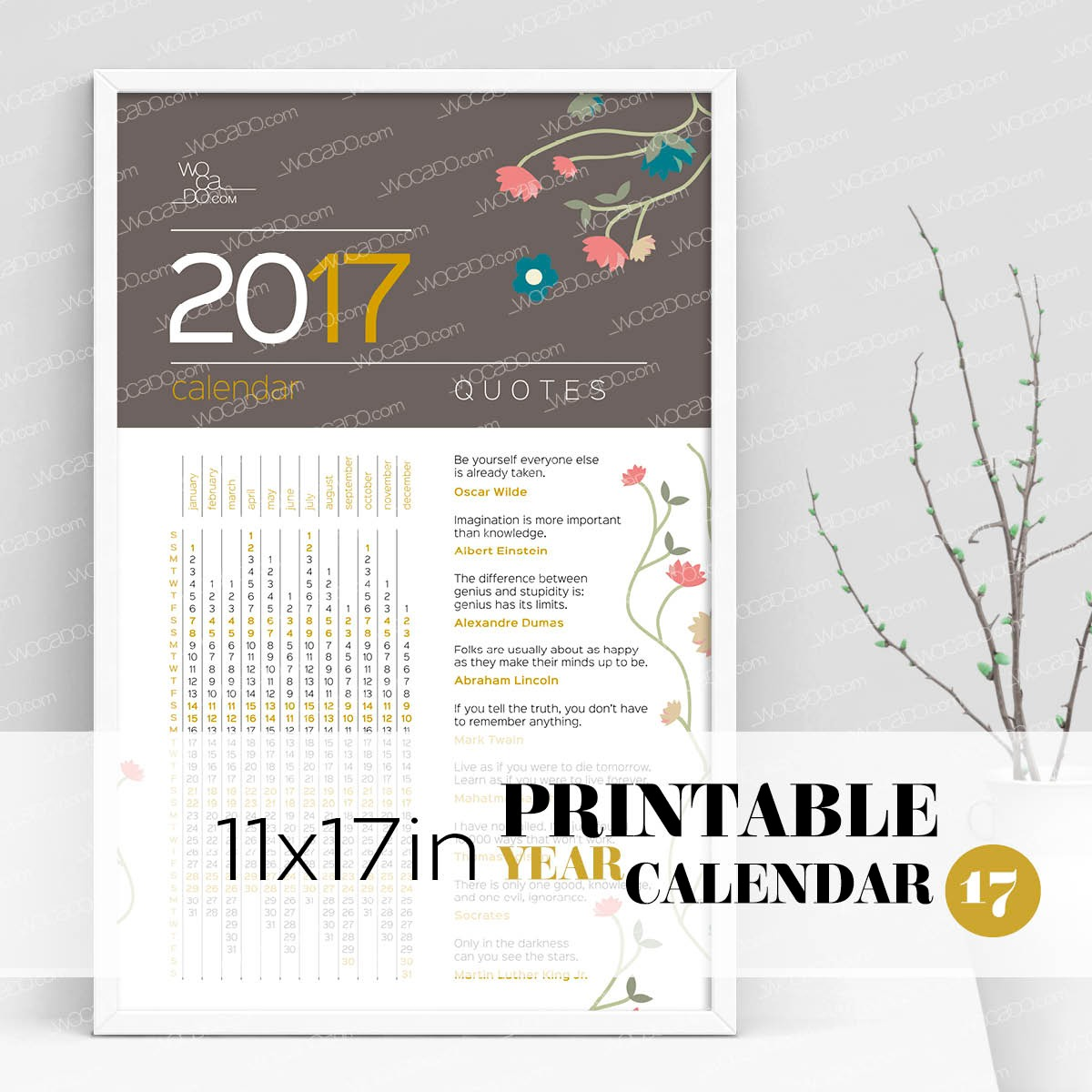 Quotes For An Awesome Year – Full Year Printable Calendar 2017 - 11x17 Poster, Flower Decoration