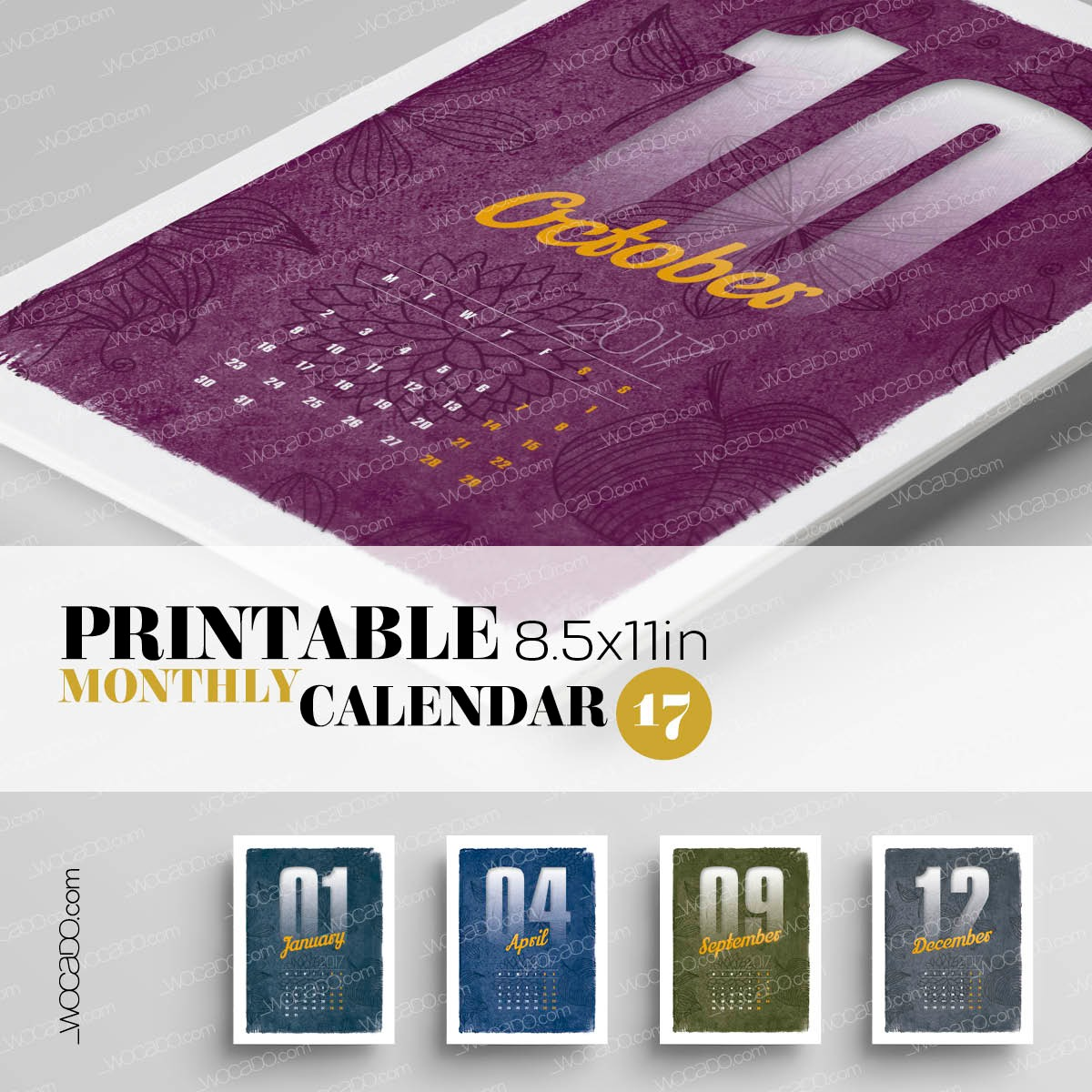 Time Flies – Monthly Printable Calendar 2017 - 8,5x11, Nature Patterns