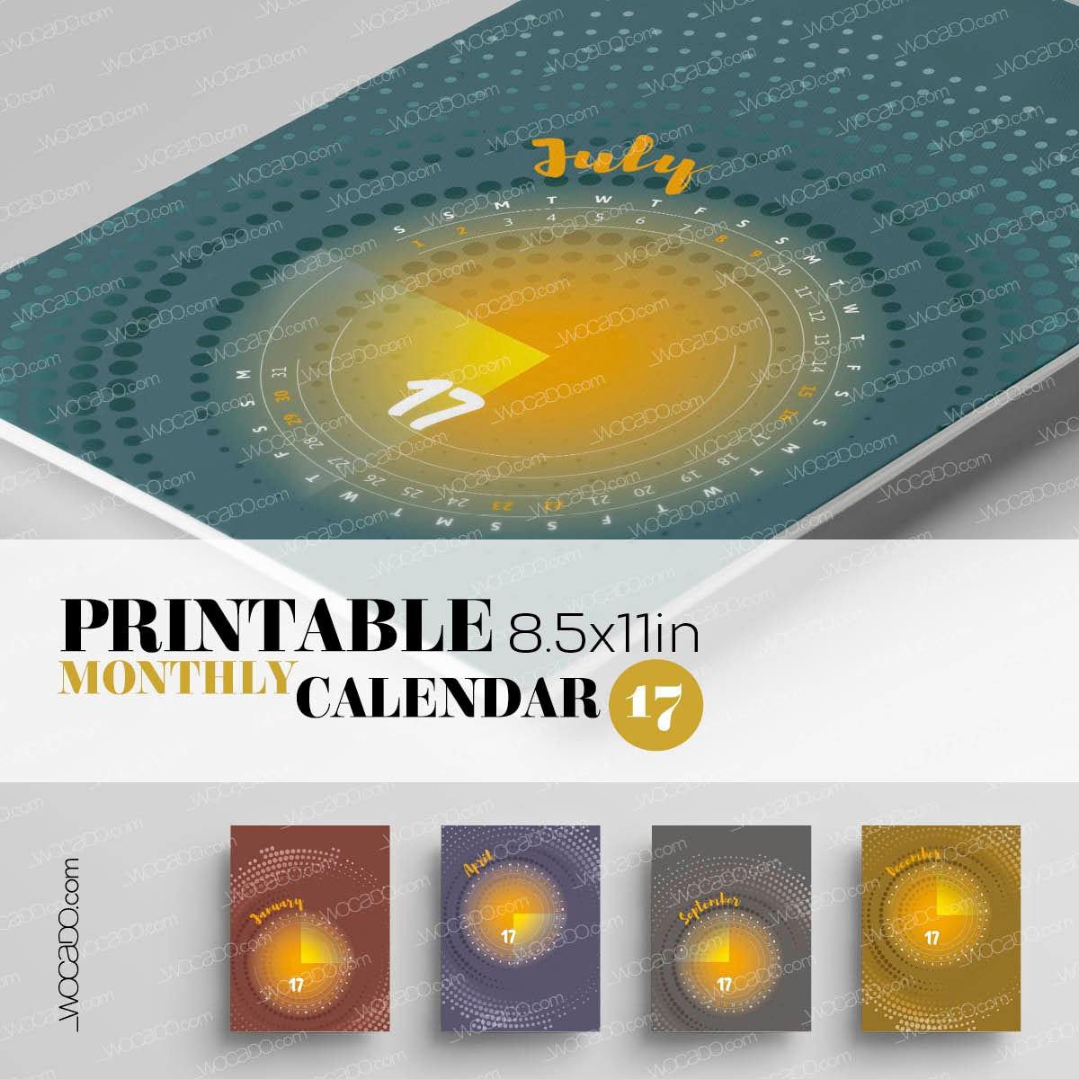 Moments In The Sun – Monthly Printable Calendar 2017 - 8,5x11, Multicolor, Designer Style