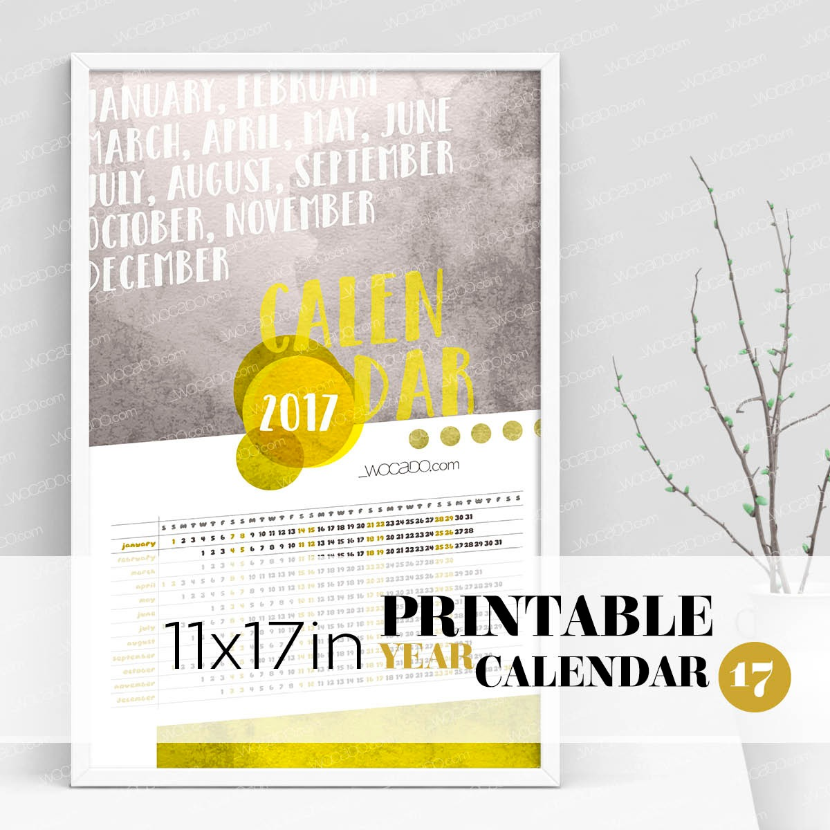 Watercolor Year – Full Year Printable Calendar 2017 - 11x17 Poster, Yellow