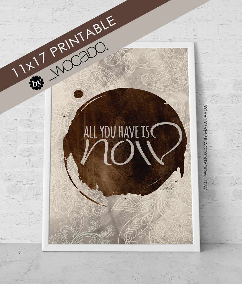 All you have is NOW! 11x17 Printable Poster by WOCADO