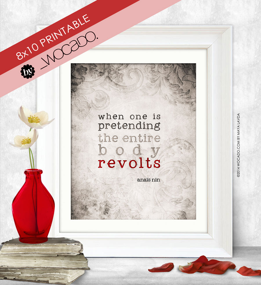 When One is Pretending - Anais Nin Quote Printable