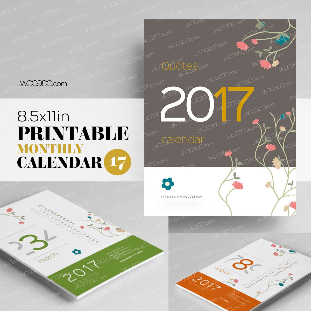 Quotes for An Awesome Year – Monthly Printable Calendar 2017 - 8,5x11, Flower Decoration