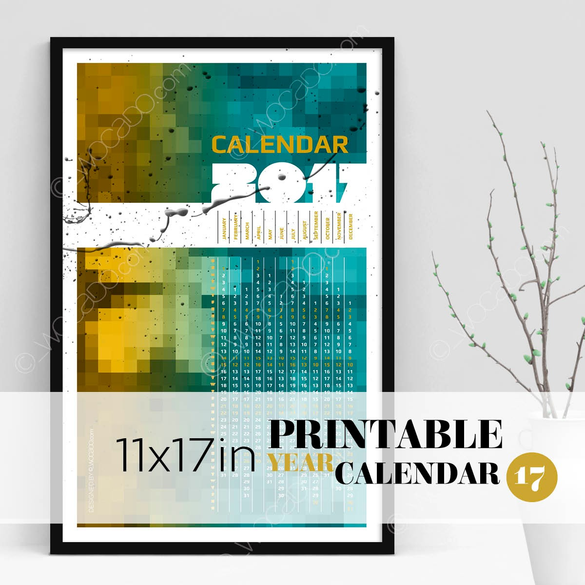 On The Square – Full Year Printable Calendar 2017 - 11x17 Poster, Multicolor Mosaic, Designer Style