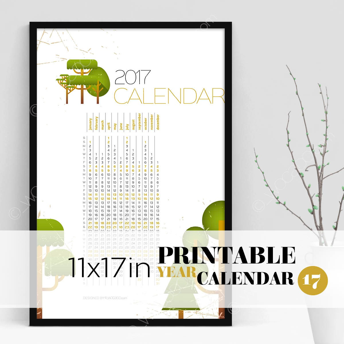 Top Of The Tree – Full Year Printable Calendar 2017 - 11x17 Poster, Tree sketches, Designer Style