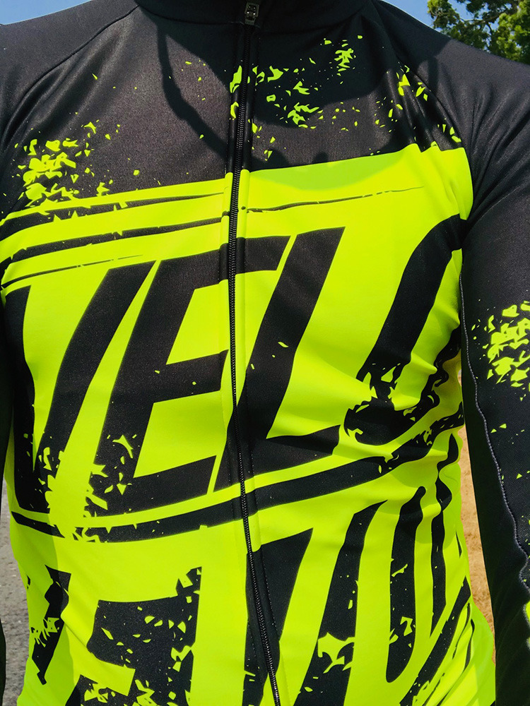Long Sleeve Thermal Jersey Black with FLUO Yellow  (Limited Sizes)