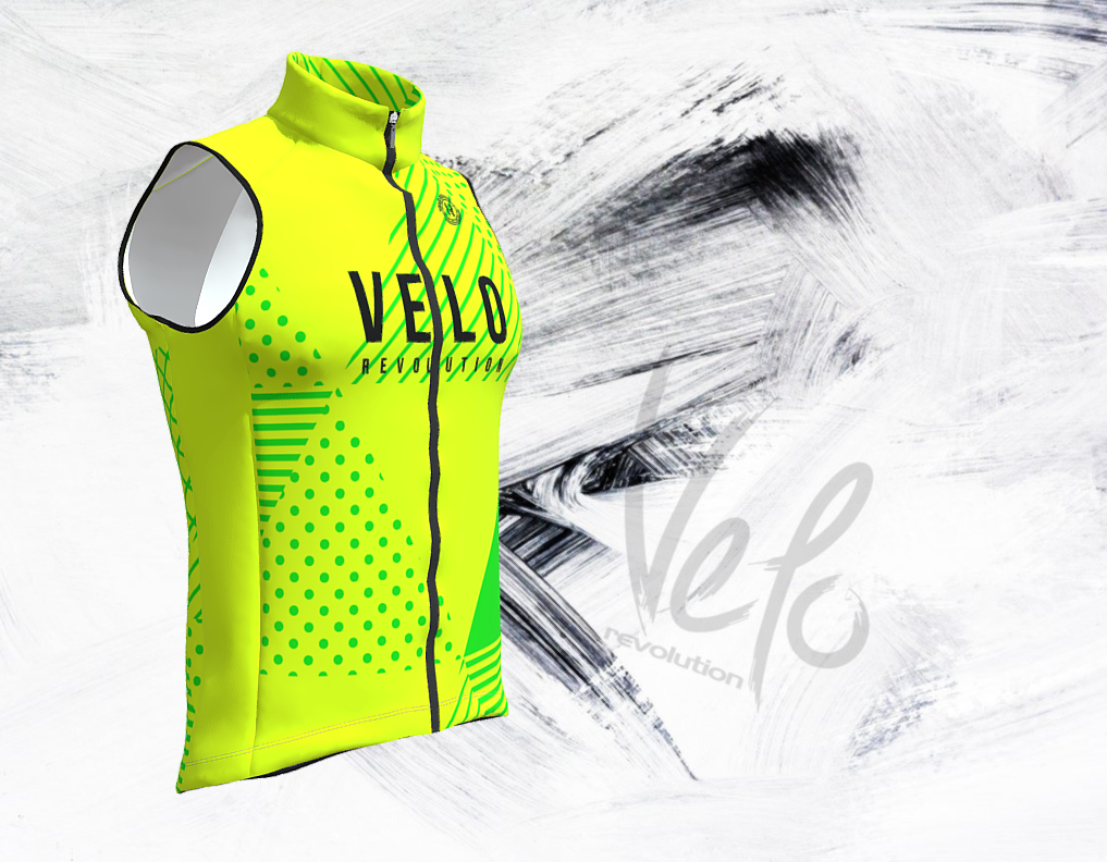 Gilet Wind Cutter - Fluo Yellow Shapes/Neon Green (with Mesh)