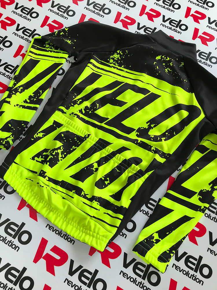 Long Sleeve Jersey - VELO Kids (6-12yrs) BLACK & FLUO YELLOW