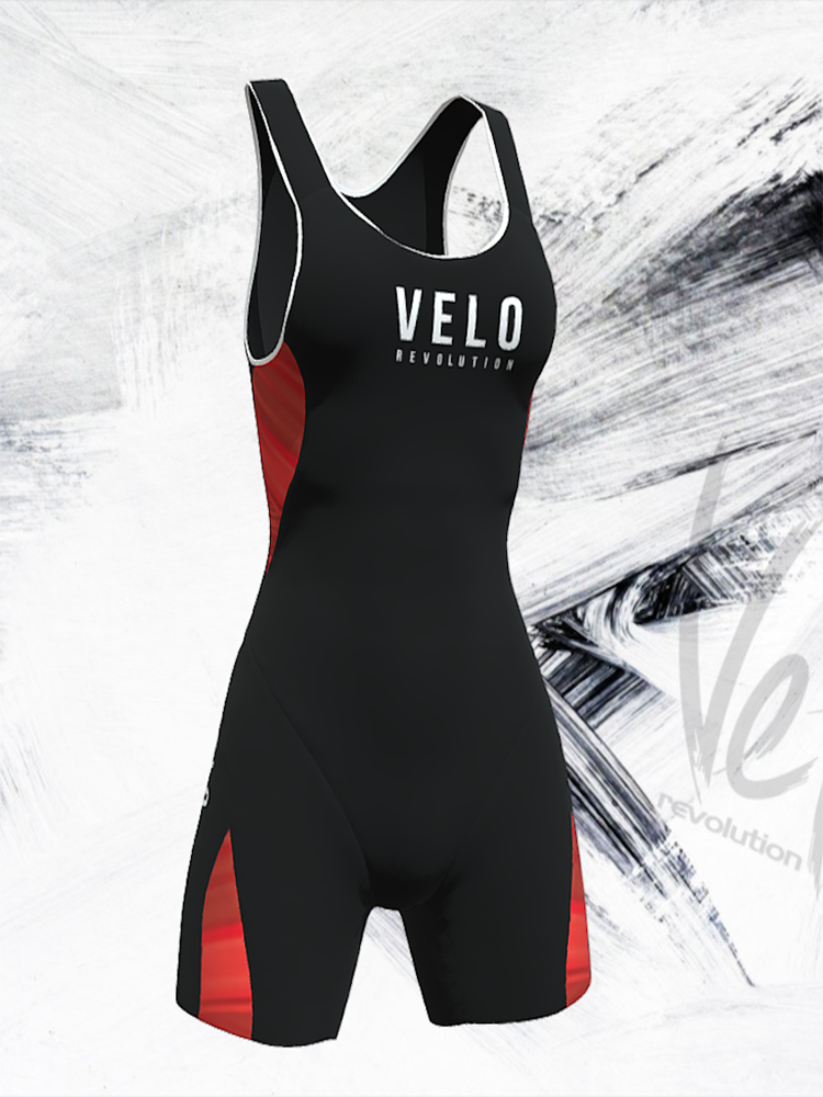 TRIATHLON ELITE AERO Female Sleeveless Suit -  JET BLACK & Red