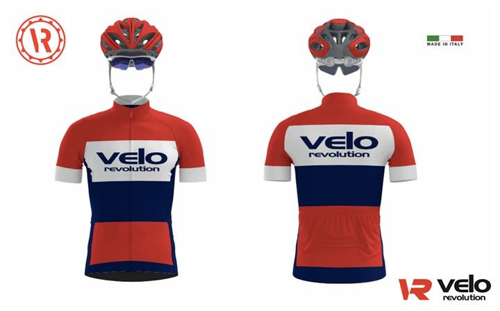 Short Sleeve Jersey ALL ROUNDER STRIPES w/Red, White, Navy
