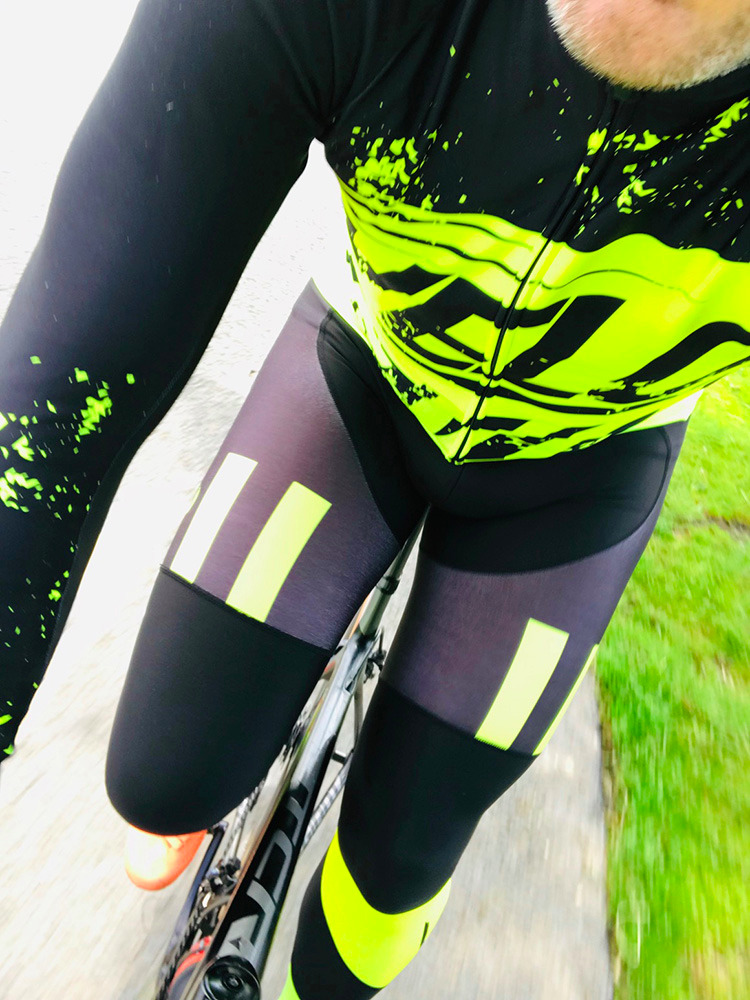 BibTights AllDay Roubaix Black with Bright Yellow Panels