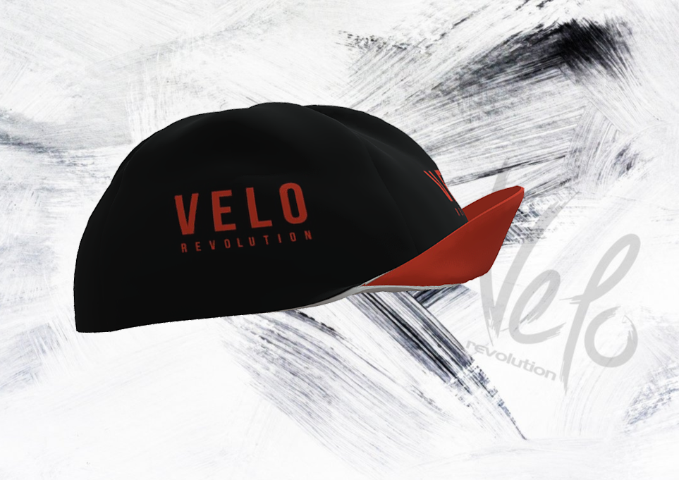 Cycling Caps - All Black with Orange VELO