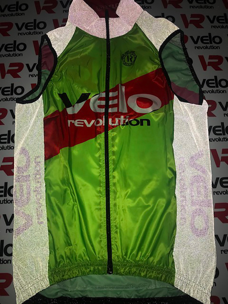Gilet LUNAR with 3 Pockets - Neon Green with Red Centre Stripe
