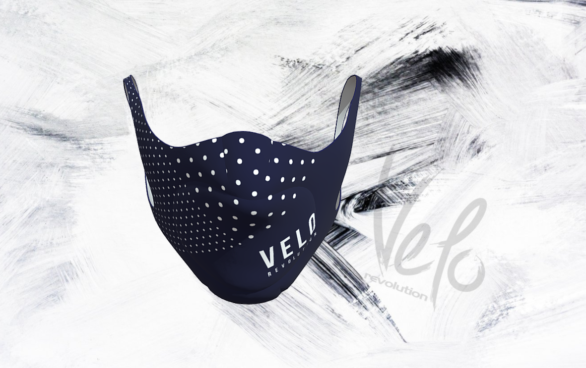 VELO Face Mask/Barrier (with 2 Filters) NAVY POLKA VELO
