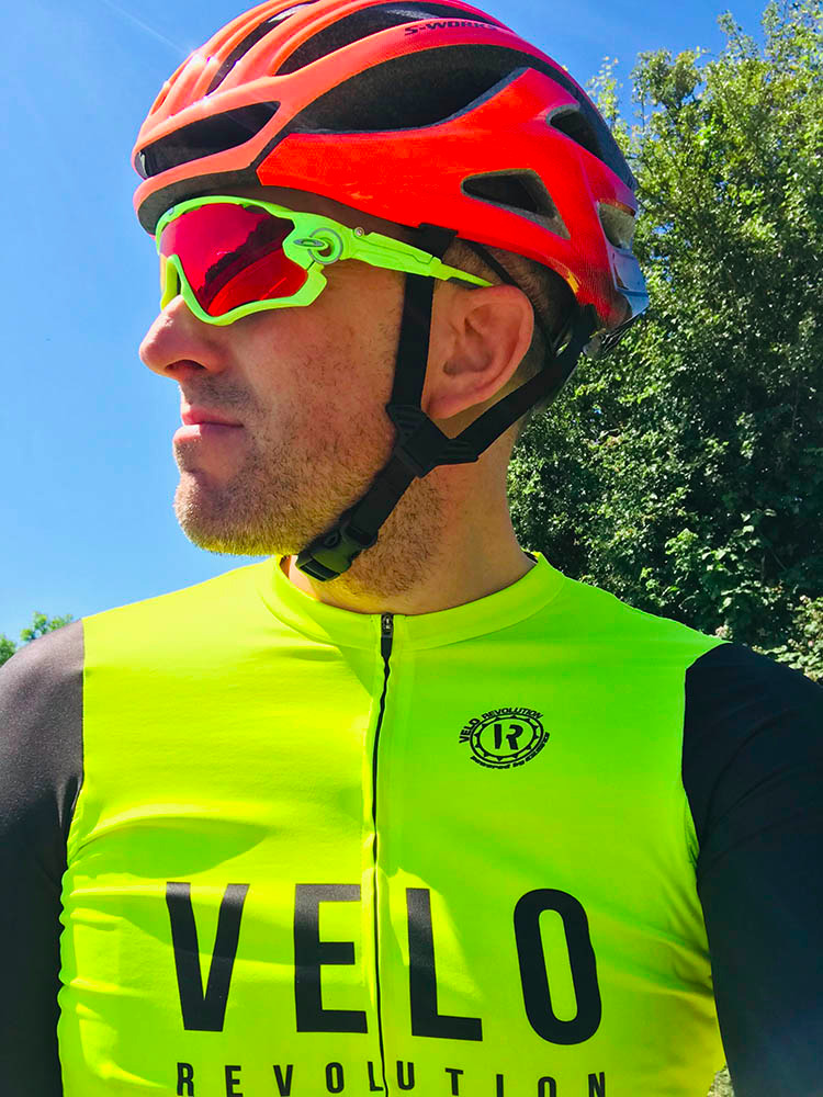 Short Sleeve Jersey Pro Fluo Yellow with Black Tailored Sleeves