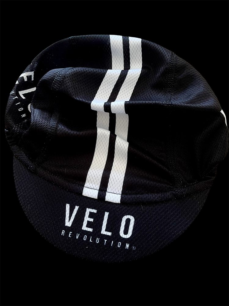 Cycling Cap Featherweight BLACK w/Stripes