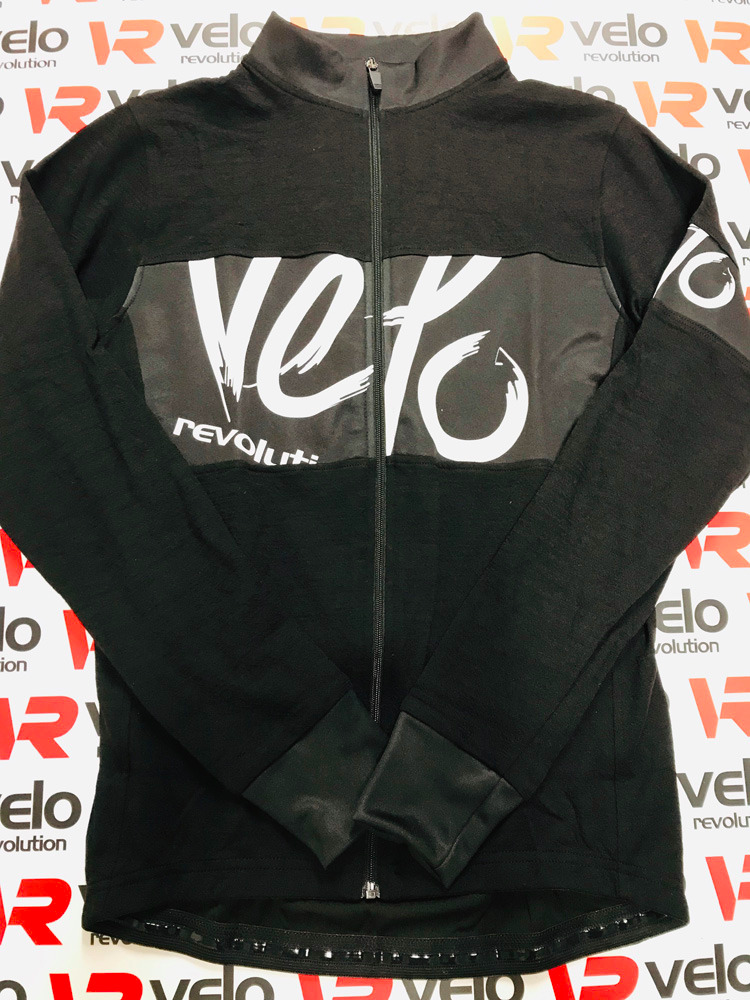 Wool Black Long Sleeve Jersey - with White VELO