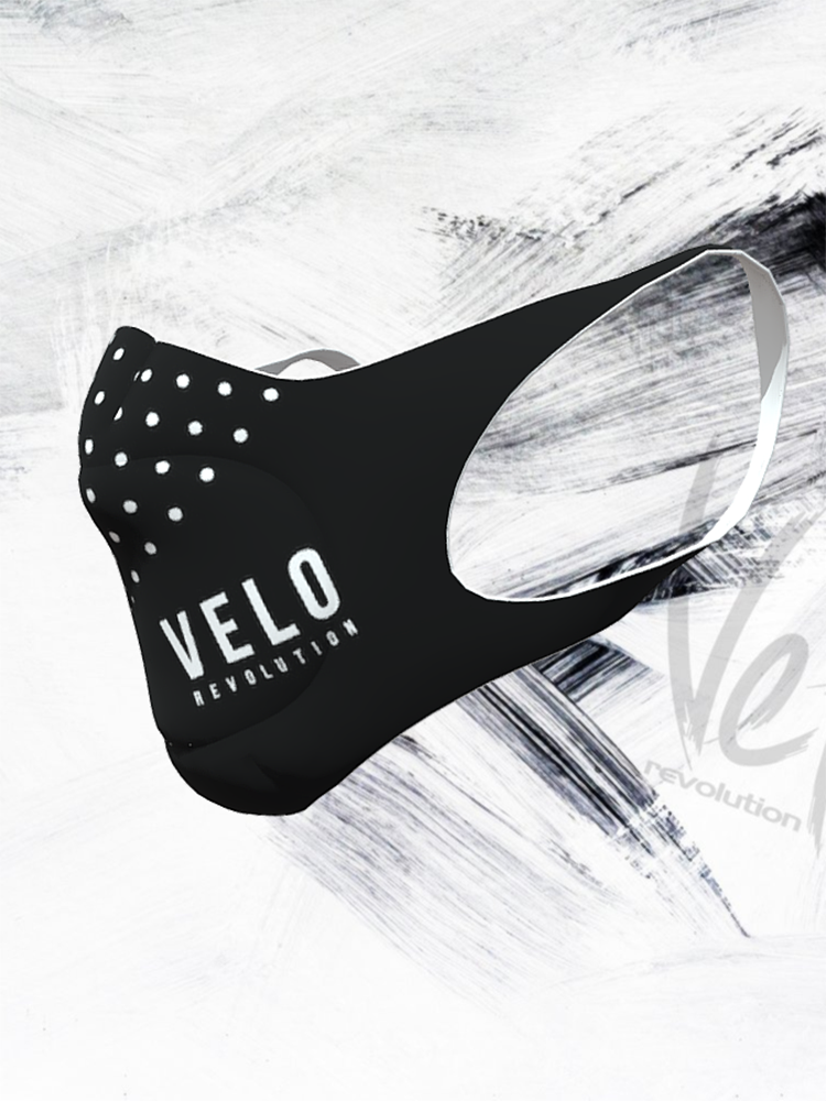 VELO Face Mask/Barrier (with 2 Filters) BLACK POLKA VELO