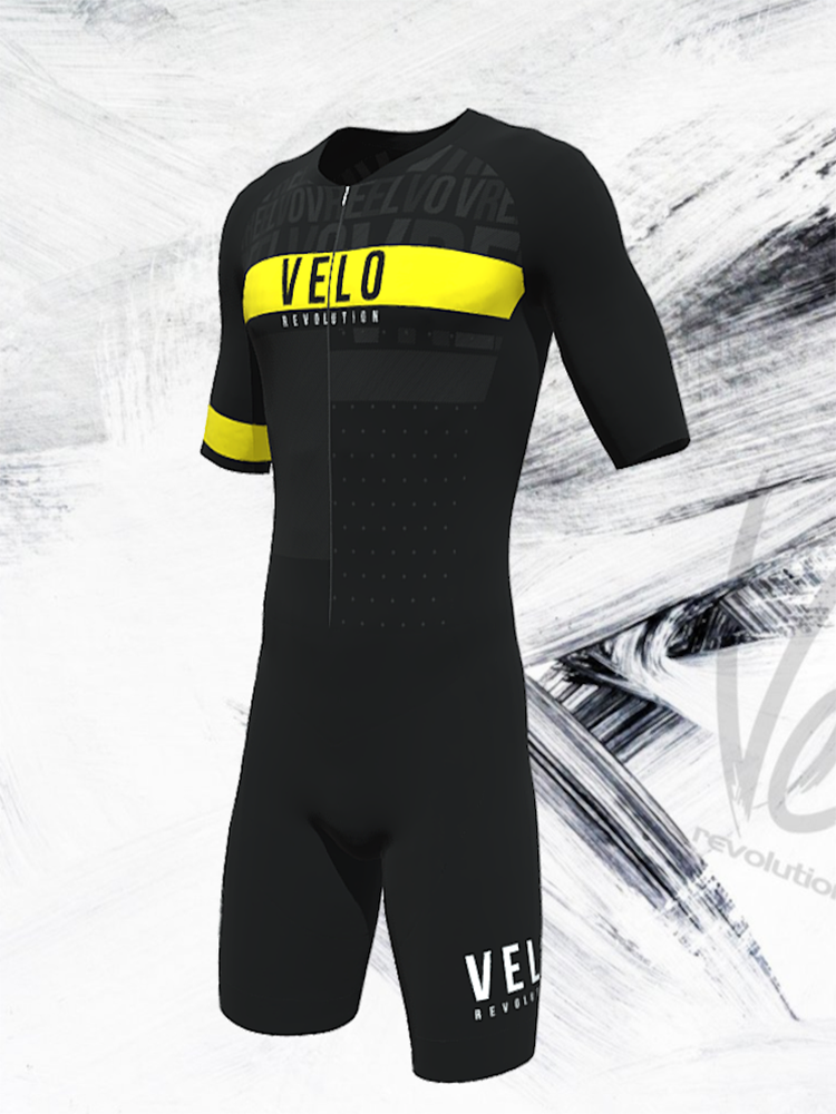 Triathlon Aero Short Sleeve Suit Speedcheat - Black/Yellow Glow