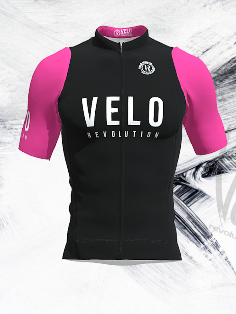 Short Sleeve Jersey Pro Black with Neon Pink Tailored Sleeves